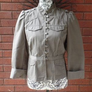 LOFT Military Fitted Jacket Dark Khaki Gray 4